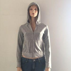 Cute Juicy Couture Gray Soft Velour Zip Hoodie
